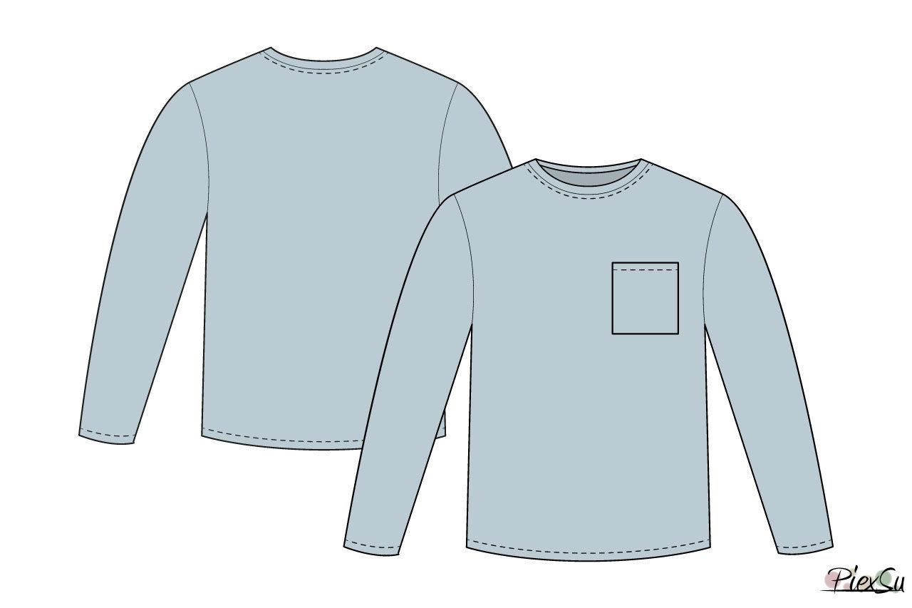 Schnittmusterbogen-Herren-Basic-Shirt-langarm-Sempel-technische-Zeichnung-farbig